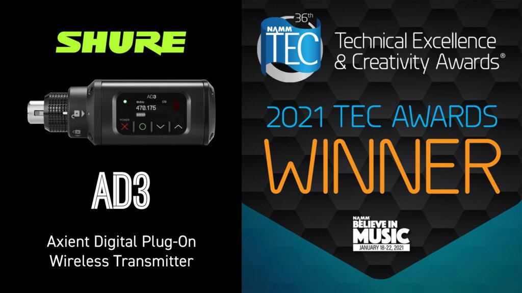 """Shure AD3 переможець NAMM TEC Awards 2021 номінації """"Бездротові технології"""""""