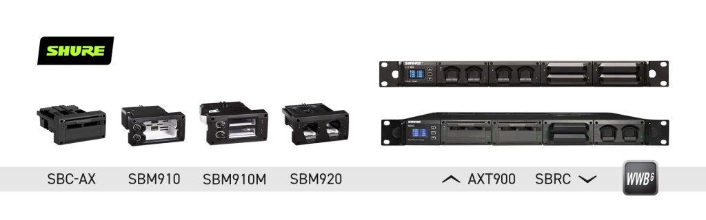 Модульные зарядные устройства Shure SBRC и AXT900